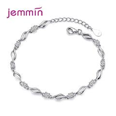 Simple AAA Zircon Stone Paved Link Chain Bracelet 925 Sterling Silver Clear and Purple Crystal Casual Daily Jewelry for Ladies