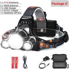 8000 Lumens 5 Led Headlamp XML T6 Powerful Head Lamp Led Headlight with 18650 battery Flashlight Head Lights for Hiking