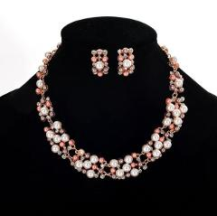 New Fashion Jewelry Set Necklace Statement Stud Earrings Women imitation pearl Jewelry Set For Women Wedding Jewelry N383