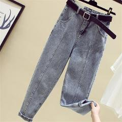Jeans female jumpsuit nine points jeans female Korean version of the wild loose straight wide leg daddy Harlan pants