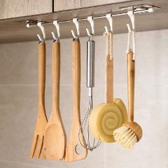 Kitchen Wall Shelf Rail Pot Pan Utensil Lid Rack Storage Organizer Adhesive 6 Hook Bathroom No Drilling Shower Caddy Towel Brush