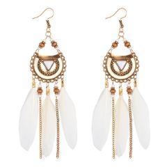 Bohemian Acrylic Feather Drop Earrings Boho Beads Long Tassel Earrings for Women White Feather Brincos Bijoux