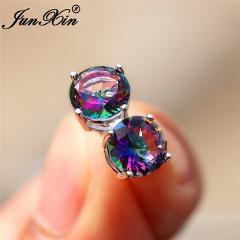 Rainbow Fire Crystal Round Stud Earrings For Women 925 Silver Colorful Purple Green Blue Zircon Wedding Earrings Simple Jewelry