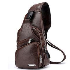 2020 Men's USB Charging Bag Men's Chest Bag for Custom PU PVC Shoulder Bag Diagonal Package Messenger Travel Bag Cross Body Bags