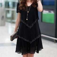 5XL Plus Size Women Clothing 2018 Chiffon Dress Summer Dresses Party Short Sleeve Casual Vestido De Festa Blue Black Robe Femme
