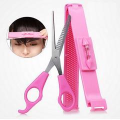 2Pcs/lot Professional DIY Tools Women Artifact Set Hair Cutting Scissor with Ruler Hair Cutting Pruning Bangs Hairdressing