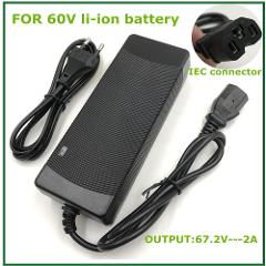 Output 67.2V2A   lithium battery charger  for 60V  Li-ion battery electric bike  with PC connector IEC connector