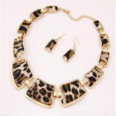 2019 Newest Fashion Necklace and Earring Set Charming Shining Metal Leopard Print Party Wedding Jewelry Sets Choker Statement