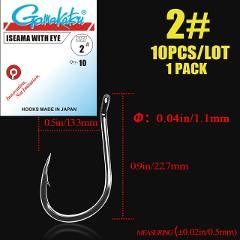 10pcs/lot  ISEAMA Circle Carp Eyed Fishing Hook Ring eye Size 1/0-14#  Fishhooks Japan Single Jig Hook hooks gamakatsu