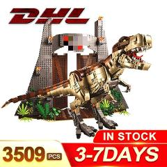 DHL Jurassiced T.REX World RAMPAGE Building Blocks 2 Dinosaur Figure Bricks Compatible with legoing 75936 Toys For Children Gift