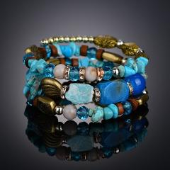 Fashion Candy Color Gem Resin Wide Magnetic Leather bracelets & bangles for Women summer vacation Maxi Wristband Pulseras