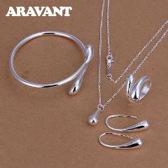 Fashion Wedding Bridal Jewelry Set 925 Silver Jewelry Water Drop Necklace Bangles Rings Earrings Sets For Women Party Gifts