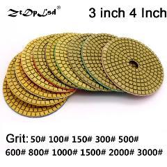 "ZtDpLsd 3""/4"" Dry Polish Pads Sanding Disc Marble Granite Polisher Flexible Stone Ceramic Tile Bond Fade Sander Grind Hand Tools"