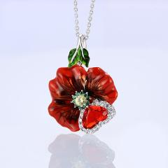 Bohemia Red Flower Leaf Enamel Pendant Necklace for Female Temperamental Big Heart Zircon Silver Clavicle Chain Charm Necklace