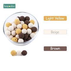 Bopoobo 20mm 10pcs Wooden Crochet Beads Chewable Beads DIY Wooden Teething Knitting Beads Jewelry Crib Sensory Toy Baby Teether