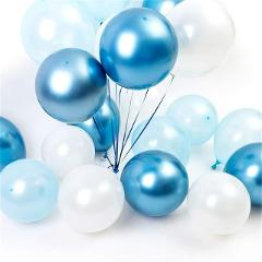 15pcs 12inch Luminous Blue Latex Balloon with Gold Metallic Chrome Latex Balloons for Wedding Decorations Birthday Party Supplie