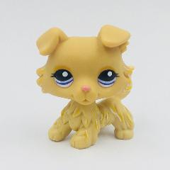 Real original action figure toy rare animal pet shop lps toys collie 1194 yellow dog blue eyes free shipping