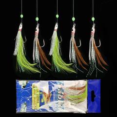 5PCS/Set 5 Combination Fishhook Fishing Lure Set Artificial Silicone Bait False skin Luminous Bead Flies Rattlin Sabiki