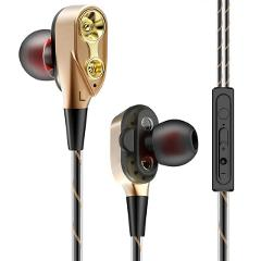 3.5mm Stereo Headset With Microphone Bass Earphones In-Ear Earbuds Hands Free Dual Driver Headphones Gaming
