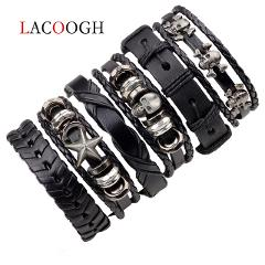 Lacoogh 1Set/5-6PCs Punk Rock Skull Star Leather Bracelets For Men Women Gothic Braided Rope Jewelry Gifts Multi Charm Bracelet