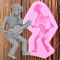 Halloween Skeleton Skull Silicone Mold Resin Clay Soap Molds Instrument Fondant Cake Decorating Candy Chocolate Gumpaste Moulds