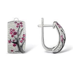 Trendy Transparent Jewelry Gifts Earrings Crystal Flower Plum Tree Branch Blossom Stud Hoop Earrings Women Jewelry