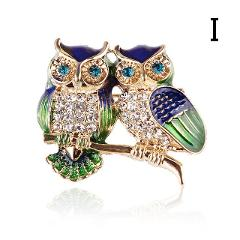 Blue Eyes Enamel Pins Rhinestone Couple Owl Brooch Animal Brooches For Women Men Clothes Scarf Buckle Collar Jewelry Pins