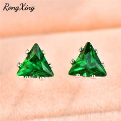 RongXing Small Triangle Blue/Green/Red/White Zircon Stud Earrings for Women Charm 925 Sterling Silver Filled Birthstone Earrings