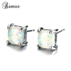Bamos Blue/Green/White Fire Opal Earrings 6/7/8mm Bridal Stud Earrings 925 Silver Filled Square Earrings For Women Fine Jewelry