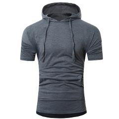 Men Summer Fashion soft and comfortable  Hooded Pullover Men's Short-sleeved T-shirt L50/0129