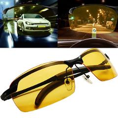 Car Driving Anti-Dazzle High Beam Day & Night Strong Light Driving Glasses Goggles Sunshade GogglesWith Case & Glasses Cloth