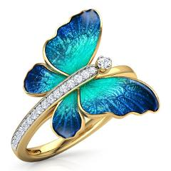 Fashion Gorgeous Butterfly Design Ring Crystal Enamel  Engagement  Marriage Rings  Jewelry  For girls party gifts