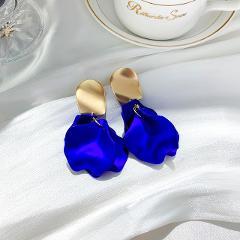 Fashion Rose Petal Drop Earrings for Women Bijoux Blue White long tassel Dangle Earrings Weddings Party Jewelry Accessories Gift
