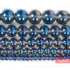 """Wholesale Natural Stone Blue Plated Clear Quartz Crystals Beads For Jewelry Making Strand 15"""" 6 8 10 12mm Pick size BPQ9"""