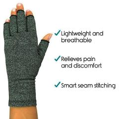 Hot selling Half Finger Compression Gloves Cotton Polyurethane Lightweight Breathable (Arthritis) Joint Pain Relief (Therapy)
