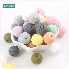 Bopoobo 10pcs Silicone Teething Accessories Round Spiral Beads Food Grade Beads DIY Jewelry Baby Teethers Nurse Beads 15mm